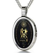 Zodiac Pendant Gemini Necklace Inscribed in 24k Gold on Onyx Stone, 46cm - NanoStyle Jewellery