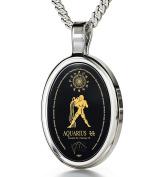Zodiac Pendant Aquarius Necklace 24k Gold Inscribed on Onyx Stone, 46cm - NanoStyle Jewellery