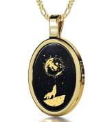 I Love You to the Moon and Back Necklace Inscribed in 24ct Gold on Oval Black Onyx Pendant, 46cm - NanoStyle Jewellery