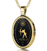 Zodiac Pendant Sagittarius Necklace Inscribed in 24k Gold on Onyx Stone, 46cm - NanoStyle Jewellery
