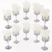 Anladia 12 Mini Plastic Champagne Cups Glasses Wedding Baby Shower Favours Silver