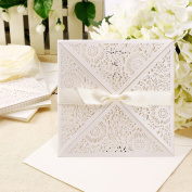 Anladia Regal Baroque Laser Cut Ivory Wedding Invitation Card With White Satin Bow + Env