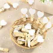 Anladia Small Wooden Craft Pegs Mini Clip Metal Spring Tiny Wedding Decor Card