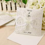 Anladia Ivory New Design Ribbon Wedding Engagement Invitation Cards Free Envelopes Seals
