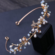 KPHY-The Bride Golden Hoop Korean Minimalist Pearl Hair Wedding Headdress Wedding Dress Photo Photo Jewellery Accessories