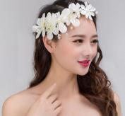 KPHY-Korean Bride Handmade Beaded Bead Flower Hair Ribbon Wedding Wedding Dress Accessories Jewellery Clockwork Headdress