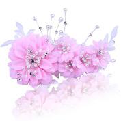 KPHY-Korean Fresh Sweet Bride Headdress Hair Silk Yarn Pearl Flower Frontlet Wedding Dress Photo Studio Portrait