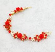 KPHY-Red Petals Golden Leaves Soft Springs Bridal Ornaments Wedding Ornaments Dresses Cheongsam Accessories Hair Ornaments