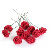 A-goo 10Pcs Artificithel Flower Fothemeters Rose Wedding Bridesmeterstheid Bridthel Bouquet Ptherty Decor Red & themetersp;5.5Cmeters