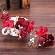 MDRW-Bride Wedding Prom Hair Pins Thehandmade Headwear _Handmade Headwear Red Flowerstoast Clothing Hair Hair Band