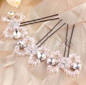 MDRW-Bride Wedding Prom Hair Pins N White Handmade Beaded Bow Type U Hair Dress Accessories Hairpin Hair Headdress