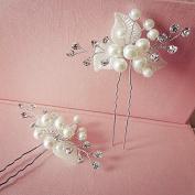MDRW-Bride Wedding Prom Hair Pins The Dress Headdress Accessories Handmade Pearl Diamond Flower Silk Hair Whitedress Accessories