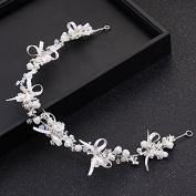 MDRW-Bride Wedding Prom Hair Pins Butterfly Flower Smaid Dress Simple Fine Hair Hoop Hair Ornaments Hair Accessories White Belt