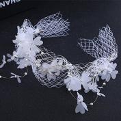 MDRW-Bride Wedding Prom Hair Pins Bridal Headdress Nheaddress Handmade Crystal Beads Butterfly Ribbon Lace Ribbonyarn Accessories
