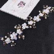 MDRW-Bride Wedding Prom Hair Pins Theheaddress _ Sweet Flower Headbandheaddress Soft Chain Pearl Ornaments