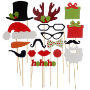 17 Pcs Paper DIY Funny Photo Booth Props Moustache Hat Lips On Stick for Christmas Xmas Weddings Birthday Party Dress Up Photography Kit