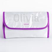 White Personalised Crystal Make Up-Wash Bag Travel Hanging Christmas gift Present