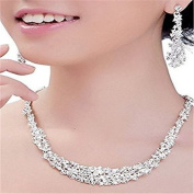 F-eshiThebove Wedding Bridthel Rhinesto ne Necklthece Etherring Jewellery Set Wedding Accessory