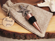 Vintage Starfish Bottle Stopper Copper Finish in Rustic Burlap Gift Bag