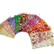 iTemer 100pcs Organza Gift Bags 10 Colours Drawstring Bags Jewellery Pouches Candy Bags Wedding Party Favour Gift Bags