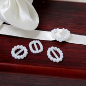 12 Oval Shaped Plastic White Pearl Effect Ribbon Slide 15mm