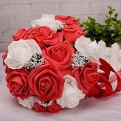 "LNPP Wedding Flowers Bouquets Wedding Foam Satin 8.66""(Approx.22cm) , red"