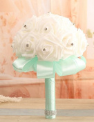 "LNPP Wedding Flowers Bouquets Wedding Elastic Satin 7.87""(Approx.20cm) , light green"