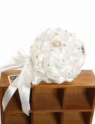 LNPP Romantic Rose Bouquet With Crystal Flower Bouquet Wedding Bridal Lace Bouquet Of Bride (More Colours) , white