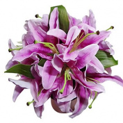 "LNPP Wedding Flowers Round Roses Bouquets Wedding Satin Purple 11.02"""