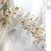 Bride Crystal Hair Ornaments Retro Crown Jewellery Elegant Golden Beauty Cosmetics