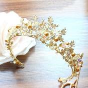 Gold manual Beaded Retro crystal bride Crown Studio Wedding dress Supplies