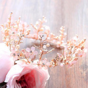 Pink Crystal Hand Princess Crown Wedding Headdress Beauty Cosmetics