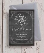 Personalised Vintage Chalkboard Wedding Save the Date Cards