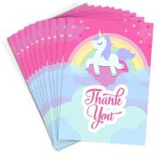 Pink Unicorn Thank You Cards - Folding Style with Envelopes