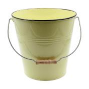 Yellow Pastel Coloured Decorative Buckets Wood Handle