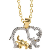 YOUBETTER Mother's Day Gift Cute Animal Double Elephant Pendant Necklace Jewellery Cheap