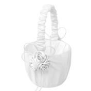 Omkuwl Lace Collection Wedding Flower Girl Basket Pink Rose Flower Basket for wedding white