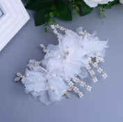 KHSKX-The Bride And Bride Headdress Jewellery White Silk Yarn Handmade Flower Hair Comb Wedding Dress Bridal Accessories