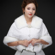 Woman'S Hair Shawl Cape Wraps Wedding Dress Cloak Coat White Big Collar For The Bride