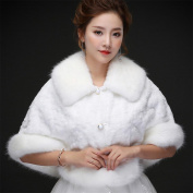 Woman'S Hair Shawl Cape Wraps Wedding Dress Cloak Coat White Big Collar Winter Warm For The Bride