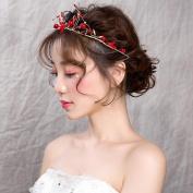Red beads Crown Studio Bride Red Headdress Hair Hoop Beauty Cosmetics