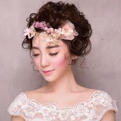 Bride manual Pink Head flower Hair Hoop Soft chain Wedding Dress Hair Ornaments Accessories
