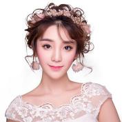 Bride headdress Silk yarn wreath Hair bands earring Wedding dress Beauty supplies Set