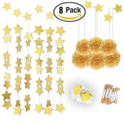 Konsait Gold Twinkle Star Garland Banner Bunting 7.6m & Gold Tissue Paper Pom Poms Flowers Ball (6pcs) for Christmas, New Year, Bridal Baby Showers Birthday Party Hanging Decorations