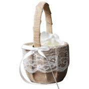 Flower Girl Basket, 1pcs Romantic Vintage Retro Lace Bow Bridesmaid Basket Linen Decor Gift Basket for Wedding Ceremony Party