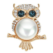 Fablcrew Cute Owl Brooch Pin Crystal Pearl Corsage Jewellery for Wedding Valentine's Day Christmas