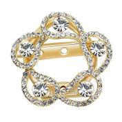 Fablcrew Hollow Flower Corsage Brooch Pin Romantic Crystal Birthday Wedding Bridal Pin Jewellery Gold