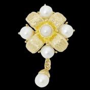 Fablcrew Flower Corsage Romantic Crystal Pearl Brooch Pin Birthday Wedding Bridal Pin Jewellery Gold