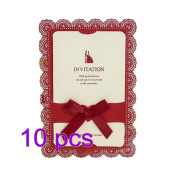 Lumanuby 10 Pcs Invitation Card for Wedding Envelop for Wedding Paper Lace Bowknot Decoration Red