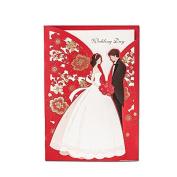 New Couples Design Wedding Invitations Elegant Laser Cut Groom & Bride Red Invite Happiness Card